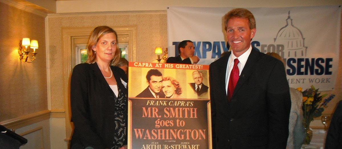 "Ryan Alexander, president of Taxpayers for Common Sense, with 2010 ""Mr. Smith Goes to Washington"" awardee Representative (now Senator) Jeff Flake (R-AZ)."