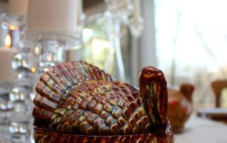 a turkey centerpiece on a table