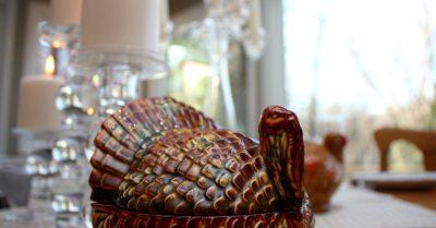 a turkey centerpiece on a table