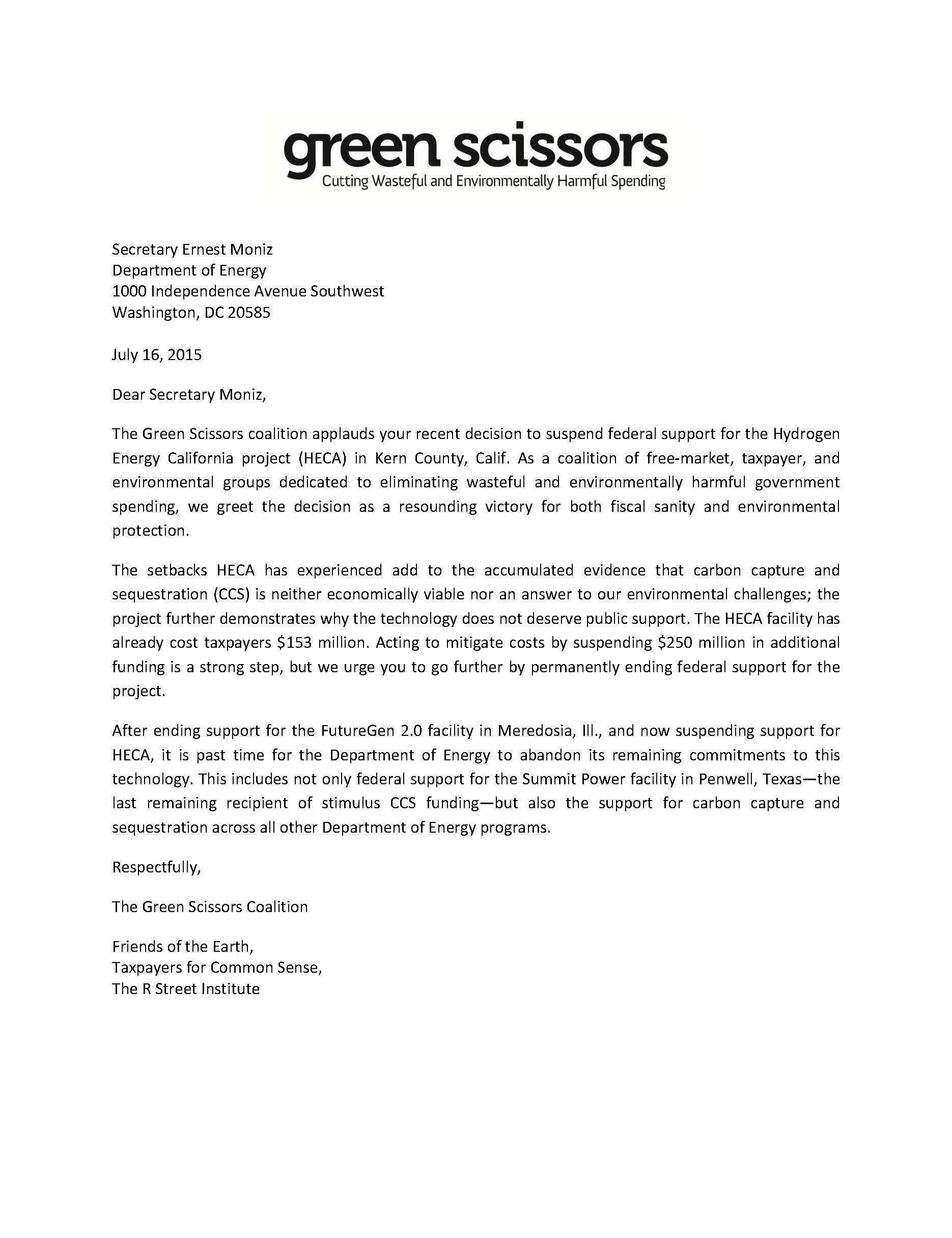 Letter to DOE: Keep Cutting CCS Funding | Taxpayers for Common Sense