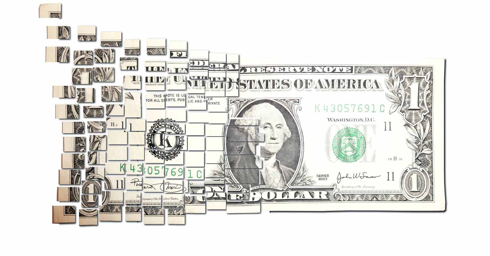 graphic of a fractured dollar