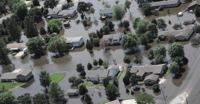 overhead view of a flooded area