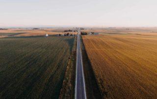 A road splitting a farm