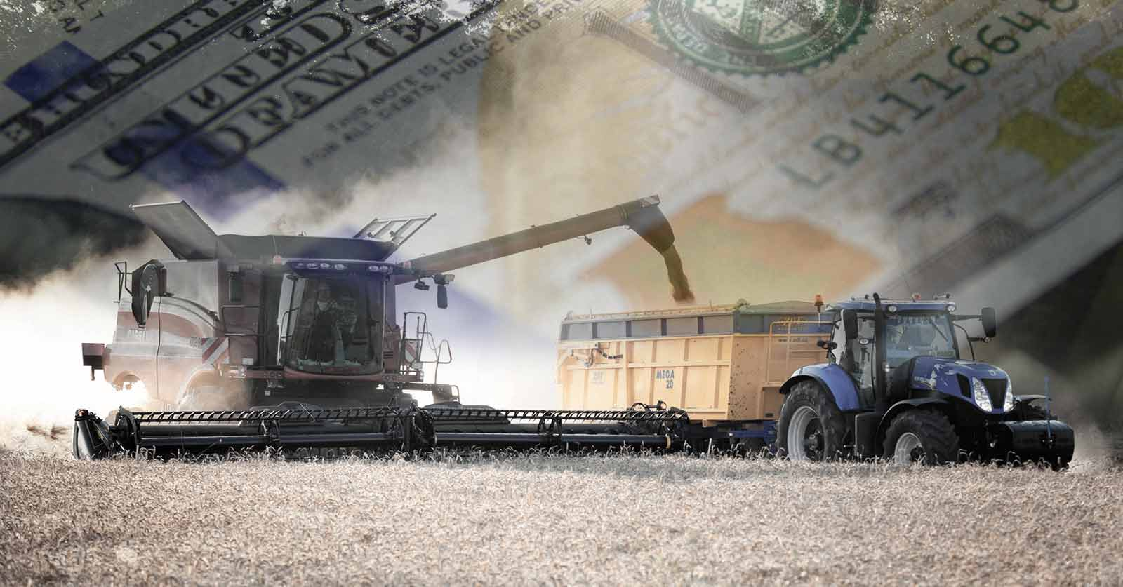 image of a tractor with an overlay of $100 bills