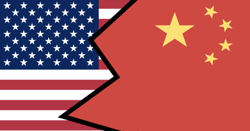 graphic of us and china flags craging