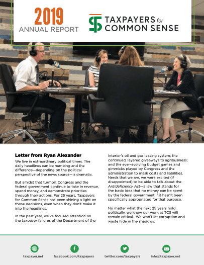 2019 Annual Report - Taxpayers for Common Sense